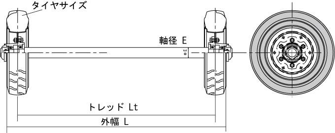 ノーパンクタイヤ車軸セット図面