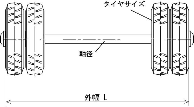 ノーパンクタイヤ車軸セット_ダブルタイヤ仕様の図面
